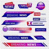 Breaking News. Television Channel Broadcasting Service Graphic Headpiece Banners Vector Template. Br poster