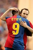 BARCELONA, SPAIN : Iniesta Futbol Club Barcelona player and Cameroonian Eto'o celebrate a goal durin