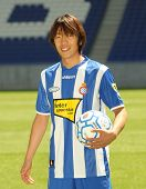 BARCELONA JULY 13: Espanyol's new football player Japanese Shunsuke Nakamura poses with a ball during his official presentation July 13, 2009 in Barcelona, Spain.