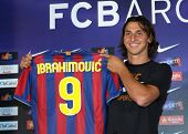 BARCELONA JULY 27: Barcelona's new signing Swedish forward Zlatan Ibrahimovic during his official pr