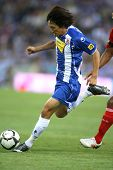 BARCELONA, SPAIN - AUG. 2: Shunsuke Nakamura of RCD Espanyol in action during a friendly match against Liverpool at the Estadi Cornella-El Prat on August 2, 2009 in Barcelona, Spain