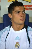 BARCELONA - SEPT. 12: Cristiano Ronaldo of Real Madrid before a Spanish League match against RCD Espanyol at the Estadi Cornella-El Prat on September 12, 2009 in Barcelona, Spain