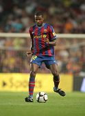 BARCELONA, SPAIN - AUG. 31: Futbol Club Barcelona player Eric Abidal during Spanish League match bet