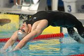 BARCELONA, SPAIN - JUNE. 7: English 50 m backstroke recordman Liam Tancock swims Backstroke during t