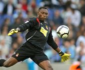 BARCELONA - OCTOBER 18: Carlos Kameni, a Cameroonian player in action during a Spanish league match against Tenerife at the Estadi Cornella-El Prat on October 18, 2009 in Barcelona, Spain.