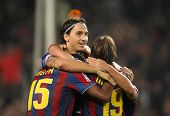 BARCELONA - OCTOBER 25: Swedish Zlatan Ibrahimovic of Barcelona celebrating goal during Spanish leag