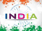 Vector illustration of colorful text India with Asoka wheel on colorful grunge background for Independence Day and Republic Day.
