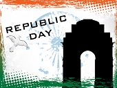 Vector illustration of Republic Day on grunge border background with India Gate and Asoka Wheel.