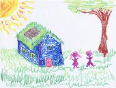 Crayon Drawing Of Environmental Home
