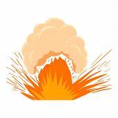 High Powered Explosion Icon. Cartoon Illustration Of High Powered Explosion Icon For Web On White Ba poster