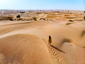 Woman Walking In The Desert On A Sunny Day Aerial View poster