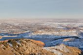 stock photo of horsetooth reservoir  - Colorado Front Range Fort Collins and plains in winter scenery as seen from Horsetooth Mountain Park - JPG