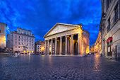 Rome, Italy. Wide Angle View Of Pantheon At Dusk With Hdr-effect poster