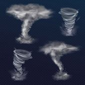 Tornado Twister Illustration Of Realistic Hurricane Wind Or Cyclone Vortex. Dangerous Natural Disast poster