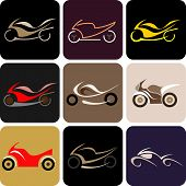 Motorcycles - Color Vector Icons