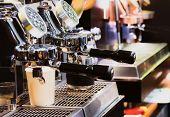 Espresso Shot From Coffee Machine In Coffee Shop,coffee Maker In Coffee Shop poster