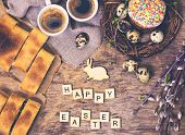 Easter Table. Easter Table Decoration, Pies, Eggs, Easter Cake, Rabbit, Seals, Spring Bouquet. Easte poster