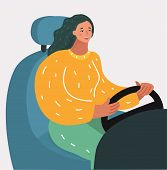 Vector Cartoon Illustration Of Young Girl Sitting Behind The Wheel Of A Car, Looking Forward, Holdin poster