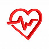 Heartbeat Line With Heart Icon In Flat Style. Heartbeat Illustration On White Isolated Background. 3 poster