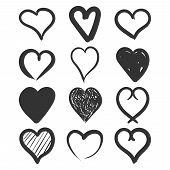 Set Of The Hand Drawn Hearts Vector Icon. Love Sketch Doodle Heart Illustration. Handdrawn Valentine poster