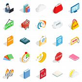 Business Applications Icons Set. Isometric Set Of 25 Business Applications Icons For Web Isolated On poster