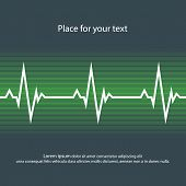 White Heart Pulse In Dark And Green Style. Vector Abstract Illustration Of Heartbeat, Flat Style. Ep poster