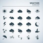 Weather Icons Set. Silhouette Art Vector Illustrations. Black Symbols Of Forecast. Meteorological In poster