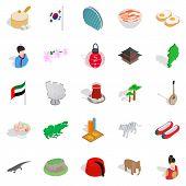 Spirit Of Japan Icons Set. Isometric Set Of 25 Spirit Of Japan Icons For Web Isolated On White Backg poster