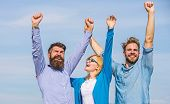 Company Three Happy Colleagues Office Workers Enjoy Freedom, Sky Background. Men With Beard In Forma poster