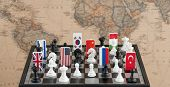 Chessboard With Flags Of Countries poster