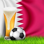 Realistic 3d Soccer Ball And Glass Of Beer On Grass With National Waving Flag Of Qatar. Design Of A  poster