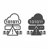Cloud Cyber Attack Line And Glyph Icon. Ddos Server Hack Vector Illustration Isolated On White. Serv poster