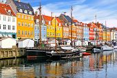 Colorful Waterfront Buildings And Ships Along The Historic Nyhavn Canal, Copenhagen, Denmark poster