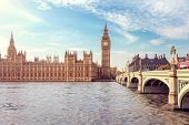 Big Ben, the Houses of Parliament and Westminster Bridge in London, England poster