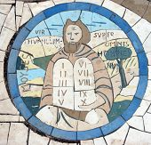 Moses holding the Ten Commandments, Mosaic in front of the church on the Mount of Beatitudes