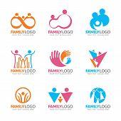 Orang Pink And Blue Tone Family Logo Sign , Human Group Sign Vector Set Design poster
