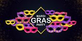Happy Mardi Gras Carnival Party Card With A Lettering And Masquerade Carnival Masks On A Dark Backdr poster