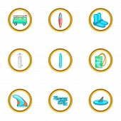 Surfing Equipment Icons Set. Cartoon Set Of 9 Surfing Equipment Icons For Web Isolated On White Back poster