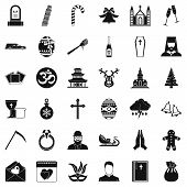 Christianity Icons Set. Simple Style Of 36 Christianity Icons For Web Isolated On White Background poster