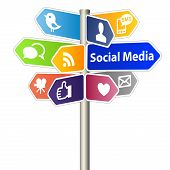 stock photo of socialism  - Social Media Network Sign on white background - JPG