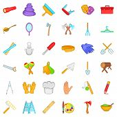 Craft Tool Icons Set. Cartoon Style Of 36 Craft Tool Icons For Web Isolated On White Background poster