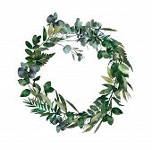 Watercolor Modern Decorative Element.  Eucalyptus Round Green Leaf Wreath, Greenery Branches, Garlan poster