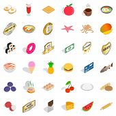 Tasty Food Icons Set. Isometric Style Of 36 Tasty Food Icons For Web Isolated On White Background poster