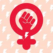 Symbol Of Feminist Movement On Lightning Background. Woman Hand With Her Fist Raised Up. Girl Power  poster