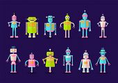 Retro Vintage Funny Vector Robot Set Icon In Flat Style Isolated On Violet Background. Vintage Illus poster