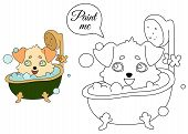 Dog With Hanging Ears Washes In A Retro Bathtub With Foam And Bubbles. Coloring Book Pages For Kids. poster