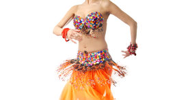picture of belly-dance  - Dancing lady in traditional costume turning her body - JPG