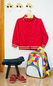 Children's clothes, backpack, shoes