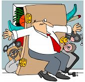 image of bulge  - This illustration depicts a man trying to hold back the door to an overstuffed closet - JPG