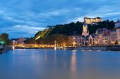 Lyon And Saone River At Night